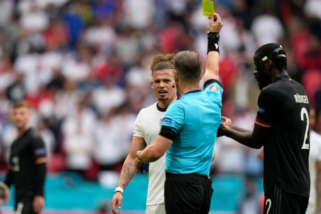 England quartet Kalvin Phillips (pictured), Phil Foden, Harry Maguire, and Declan Rice have all been shown a yellow card at the Euros. (Pic: Getty)