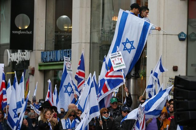 Pro-Israel demonstrations took place in London on May 23  (Getty Images)