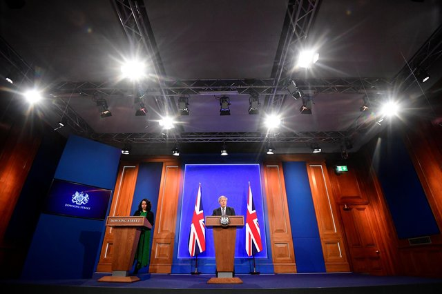 Britain's Prime Minister Boris Johnson holds a news conference in the new £2.6m studio. (Photo by Toby Melville - WPA Pool / Getty Images)