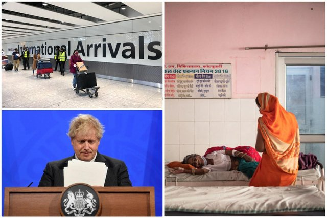 Boris Johnson announced that India would be added to the UK's 'red list' on 19 April - despite the coronavirus surging in the country from late March (Photos: Getty)