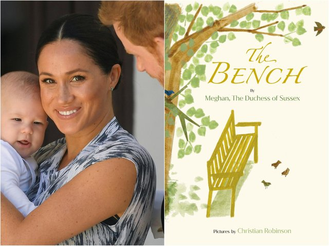 Meghan Markle, pictured holding her son Archie, has written her first children's book called The Bench (Getty).