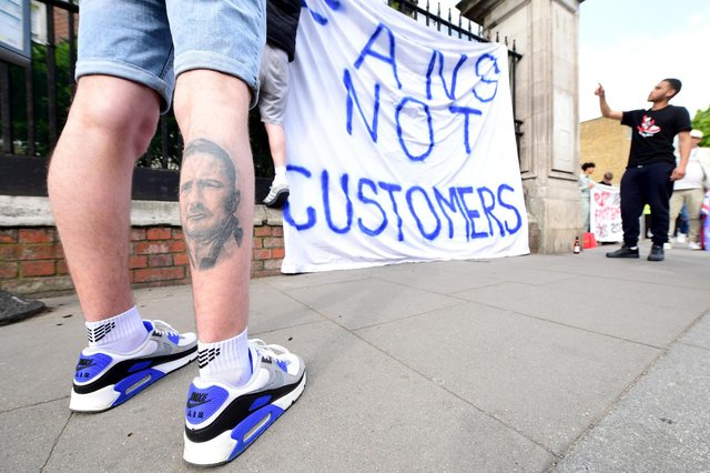 Fans protest against Chelsea's involvement in the European Super League outside Stamford Bridge, London, on Tuesday 20 April 2021. (Pic: PA)