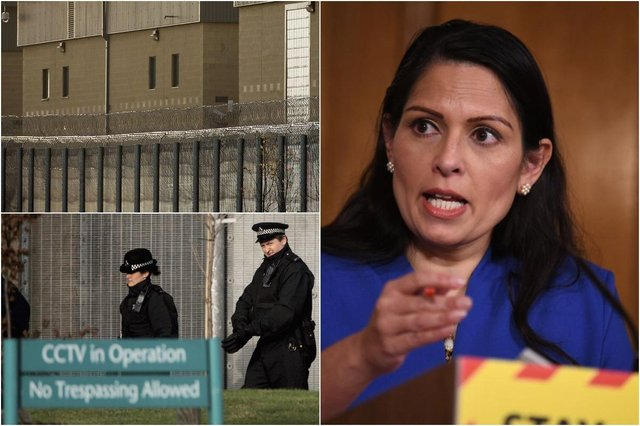 Home Office detaining vulnerable people in 'prison-like' immigration centres for months at a time, report finds (Photos: Leon Neal/Getty Images, Bruno Vincent/Getty Images)