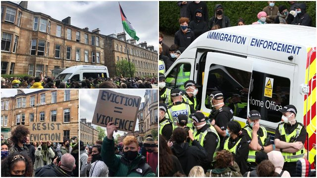 Protesters gather on Kenmure Street in Glasgow to demonstrate against the immigration raid that took place this morning (PA Media/NationalWorld)