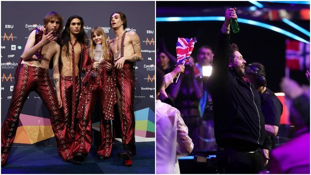 Maneskin celebrate their win while James Newman reacts to receiving zero points (Getty Images)