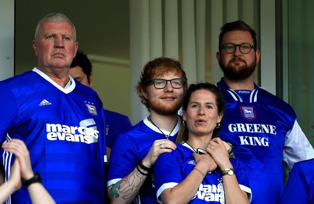Ed Sheeran at Portman Road. (Photo by Stephen Pond/Getty Images)