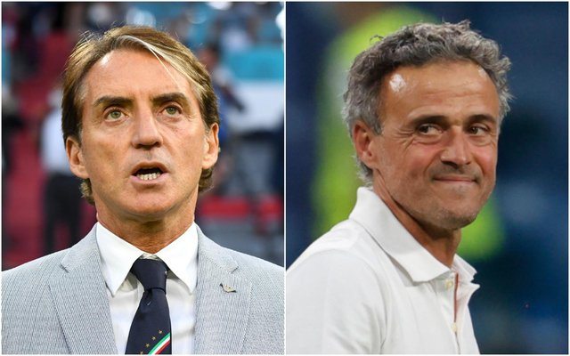 Italy coach Roberto Mancini and Luis Enrique of Spain will be in opposing dugouts for the first Euro 2020 semi final. (Pic: Getty)