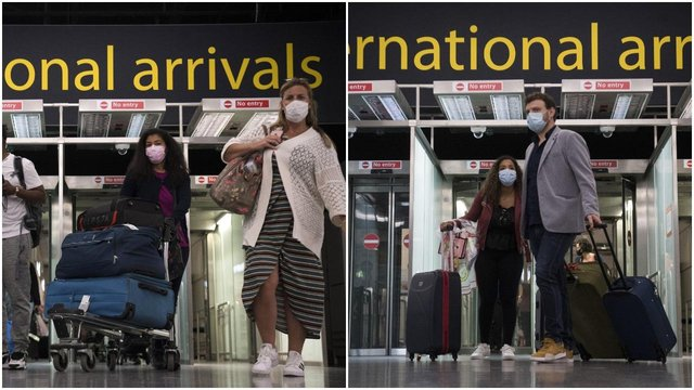 Passengers arrive at Gatwick Airport before Tuesday's 4am requirement for travellers arriving from Portugal to quarantine for 10 days comes into force (PA Media)
