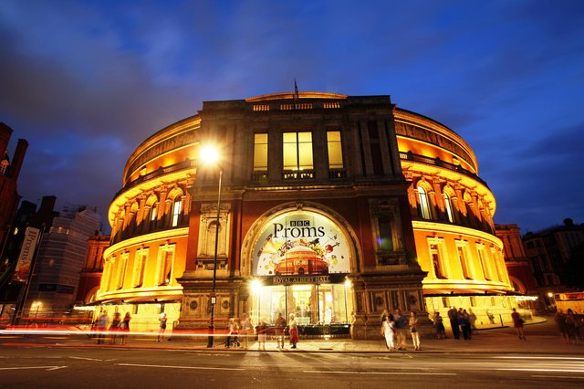Night view of Royal Albert Hall during the BBC Proms in 2013 (Shutterstock)