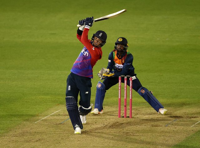 Sam Curran hits the winning runs for England in the second T20 cricket match with Sri Lanka. (Pic: Getty)