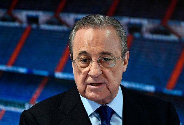 Real Madrid's president Florentino Perez gives a speech before the official presentation of a new Real Madrid player (Photo credit should read OSCAR DEL POZO/AFP via Getty Images)