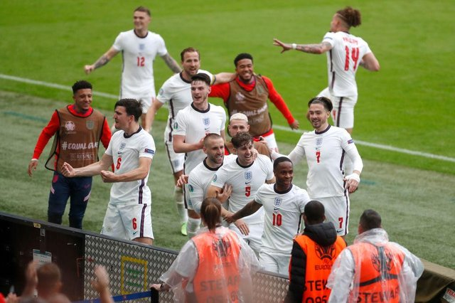 Raheem Sterling of England celebrates with teammates. (Photo by Matthew Childs - Pool/Getty Images)