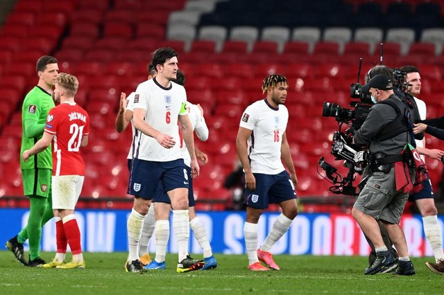 Harry Maguire of England is filmed by a steady cam after the FIFA World Cup 2022 Qatar qualifying match between England and Poland on March 31, 2021 at Wembley Stadium in London, England.