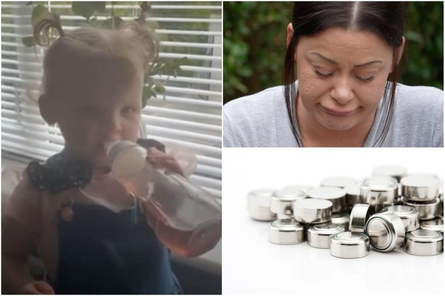 Stacey Nicklin, the mum of two-year-old toddler Harper-Lee, is raising awareness of button batteries after her daughter died from swallowing one (Photos: BBC/Shutterstock).