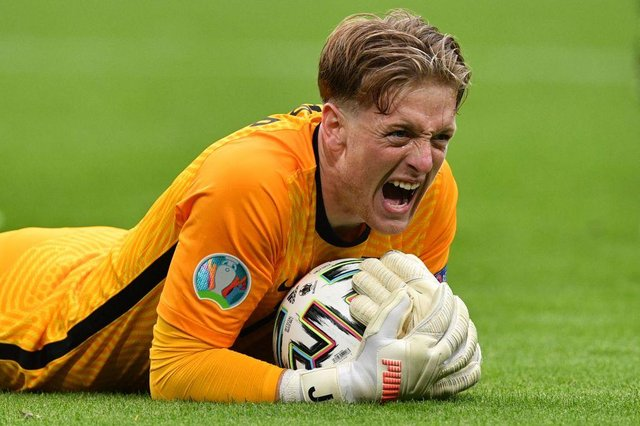 England's goalkeeper Jordan Pickford has not conceded a goal in his first four games at Euro 2020.
