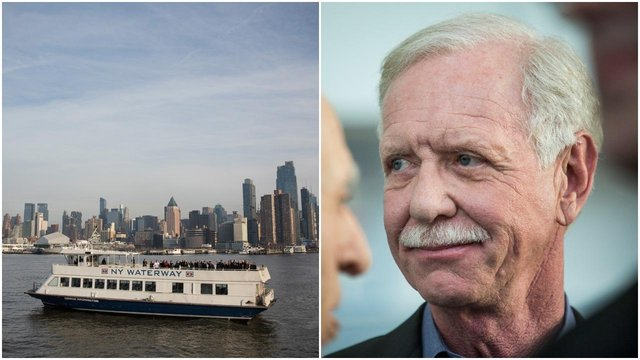 """Chesley """"Sully"""" Sullenberger (right), along with passengers and crew members from the flight, celebrate the anniversary of the Hudson river landing (Getty Images)"""