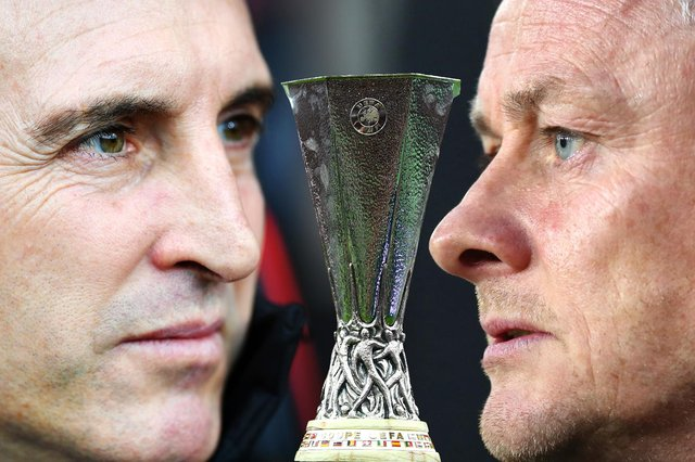Unai Emery (left) and his Villarreal side will face Manchester United, managed by Ole Gunnar Solskjaer (right), in the Europa League final on Wednesday 26 May 2021. (Pic: Getty)