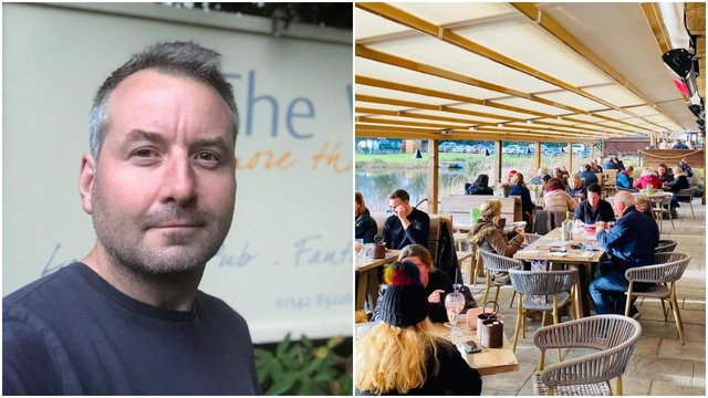 Tim Foster, who owns The Wiremill, East Grinstead (right), described the first day of pubs reopening as 'amazing' (Photo: Tim Foster/Facebook)