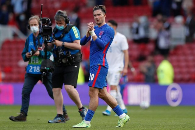 Jack Grealish of England applauds the fans following the international friendly match between England and Romania at Riverside Stadium.