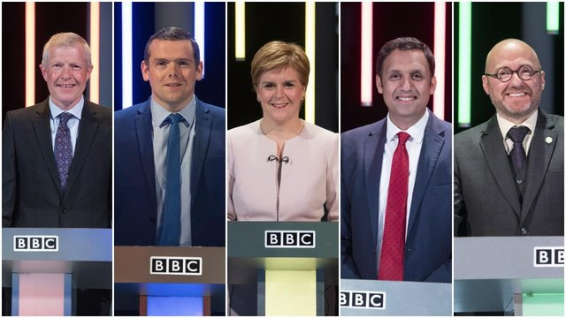 The five party leaders clashed during Election Scotland 2021: Leaders' Debate at Edinburgh's Corn Exchange (PA/BBC)
