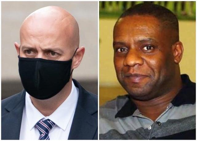 Pc Benjamin Monk (left) was found guilty of the manslaughter of former Aston Villa footballer Dalian Atkinson (right) - PA