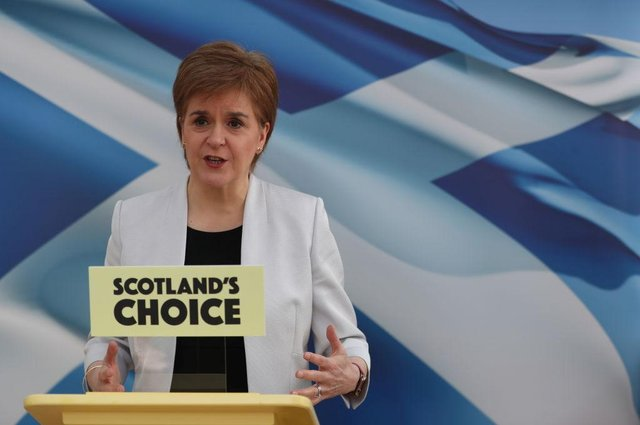 Scotland's First Minister Nicola Sturgeon rehearsing her SNP Campaign Conference speech.