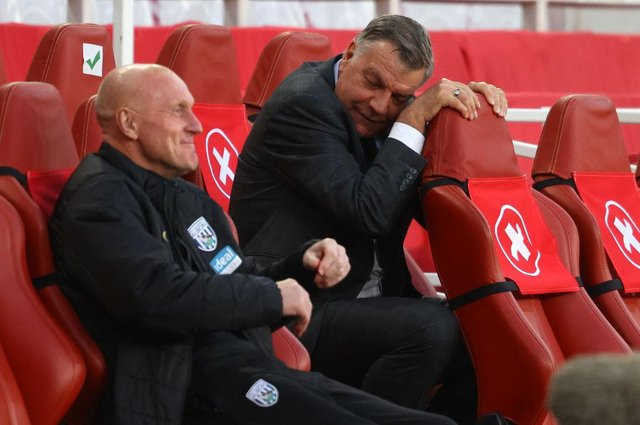 Sam Allardyce, manager of West Bromwich Albion, reacts during the defeat at Arsenal which confirmed relegation.