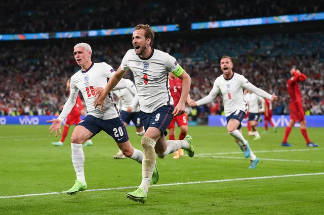 Harry Kane runs off in celebration after scoring the winner for England against Denmark in the Euro 2020 semi final. (Pic: Getty)