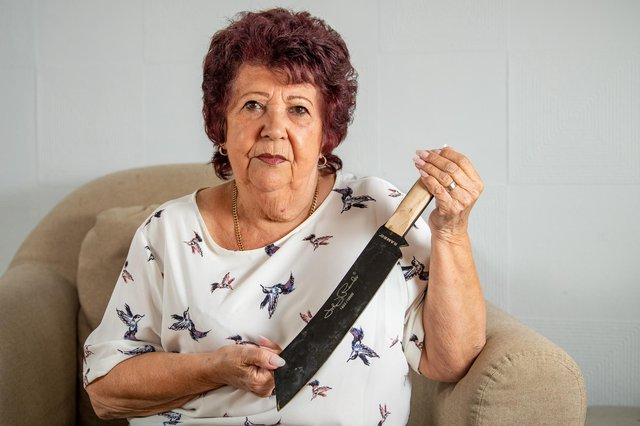 A woman was shocked when she found a 12-inch machete in a sofa she bought on Facebook Marketplace (Photo: SWNS)