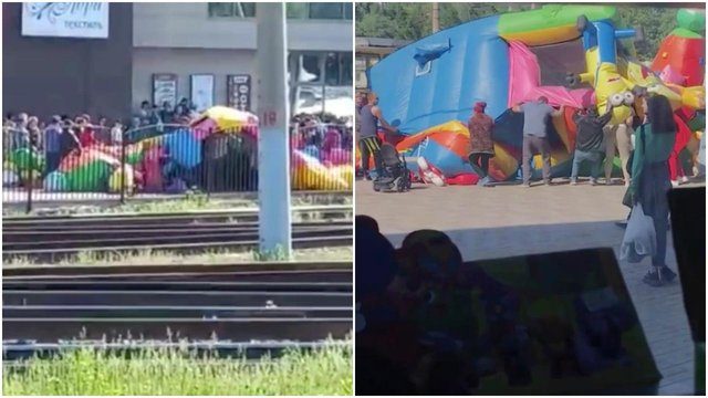 People rushed over to the bouncy castle to make sure no children were trapped on board (Barnaul 22/@yusifli_22)