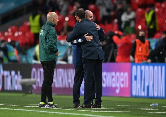 Gareth Southgate and Steve Clarke embraced following the game (Picture: Getty images)