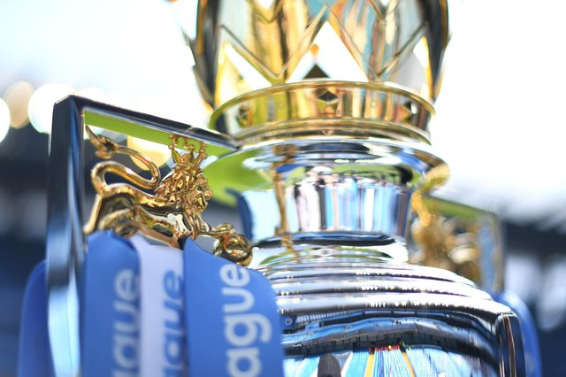 The Premier League Trophy on display (Photo by Michael Regan/Getty Images)