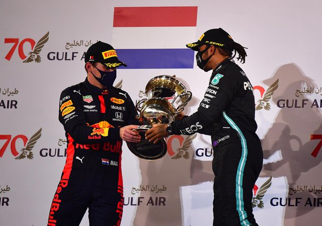 Race winner Lewis Hamilton of Great Britain and Mercedes after winning the F1 Grand Prix of Bahrain last year.