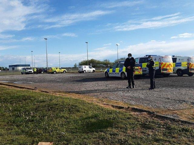 Police attended the playing field where the young boy was struck by lightning