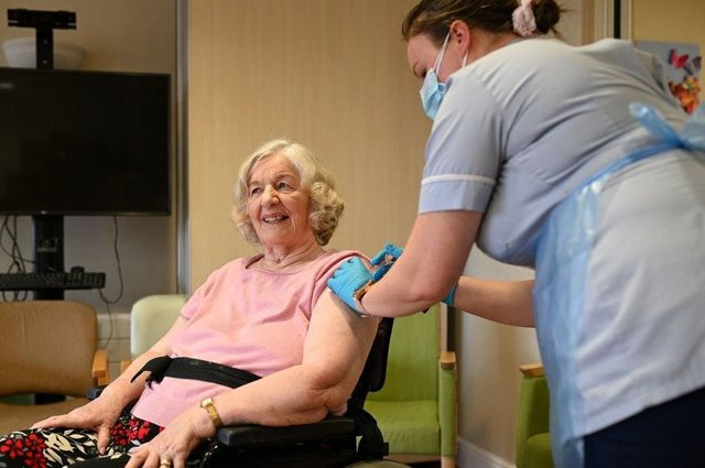 Covid infections drop 62% among care home residents five weeks after first vaccine dose, new study shows (Photo by OLI SCARFF/AFP via Getty Images)