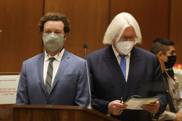 Actor Danny Masterson stands with his lawyer Thomas Mesereau as he is arraigned on rape charges at Clara Shortridge Foltz Criminal Justice Center on September 18, 2020 in Los Angeles, California.