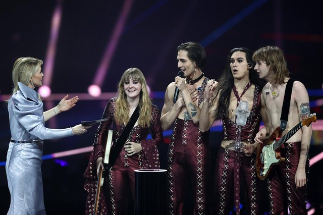 The Italian rock band won the 2021 competition with their song Zitti e Buoni, getting 524 points.(Photo by Dean Mouhtaropoulos/Getty Images)