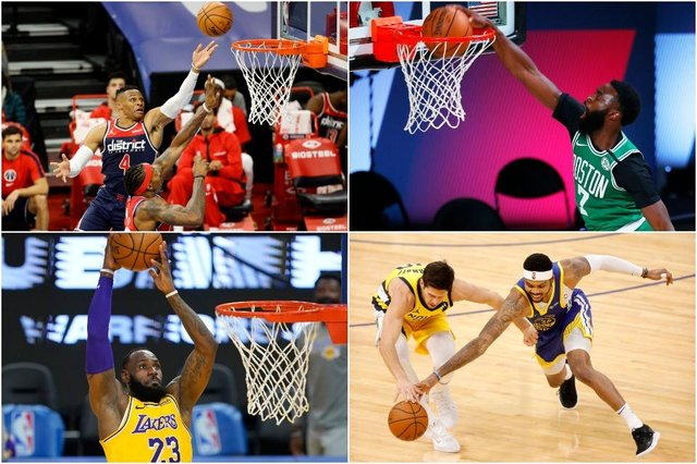 Teams including the Golden State Warriors, the LA Lakers and the Boston Celtics will compete for playoff places in the Play-In Tournament (Photos: Getty Images)