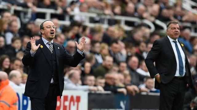 Rafa Benitez and Sam Allardyce.  (Photo by Stu Forster/Getty Images)
