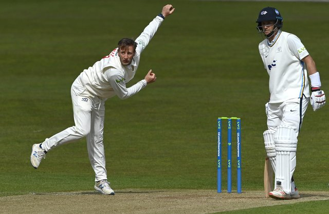 Yorkshire batsman Joe Root looks on as his brother and Glamorgan bowler Billy Root bowls during day two of the LV= Insurance County Championship Group 3 match between Yorkshire and Glamorgan at Emerald Headingley Stadium.