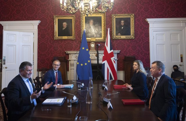 Brexit minister Lord Frost, flanked by Paymaster General Penny Mordaunt, sitting opposite European Commission vice president Maros Sefcovic, who is flanked by Principal Adviser, Service for the EU-UK Agreements (UKS) Richard Szostak (PA)