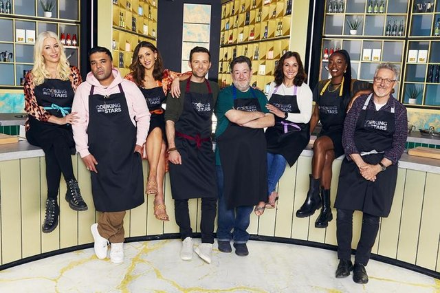 Contestants on the show are Denise van Outen, Naughty Boy, Catherine Tyldesley, Harry Judd, Johnny Vegas, Shirley Ballas, AJ Odudu and Griff Rhys Jones (Picture: ITV)