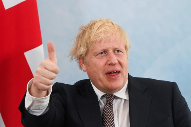 Boris Johnson gestures during a meeting with US President Joe Biden ahead of the G7 summit, at Carbis Bay (Photo by Toby Melville - WPA Pool/Getty Images)