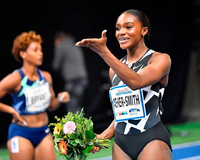 Britain's Dina Asher-Smith is back in action at Gateshead on Sunday.