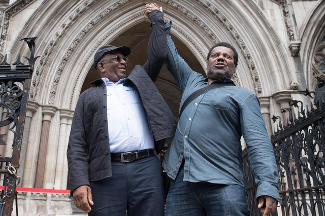 Paul Green (left) and Cleveland Davidson outside the Royal Courts of Justice in London, where the pair have had their convictions overturned by the Court of Appeal (Photo: PA)