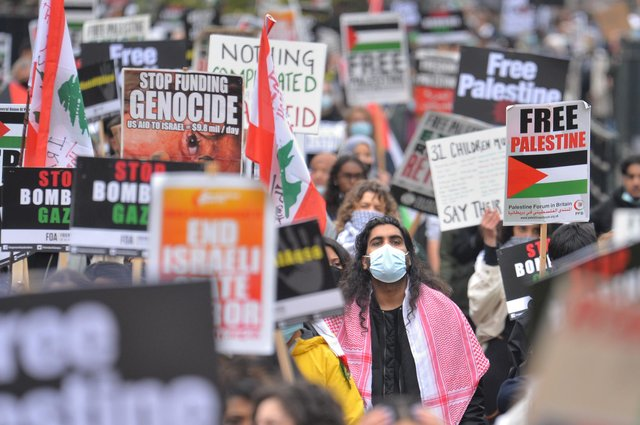 At midday on Saturday, demonstrators arrived at Hyde Park near Marble Arch to march to the Israeli embassy (PA)
