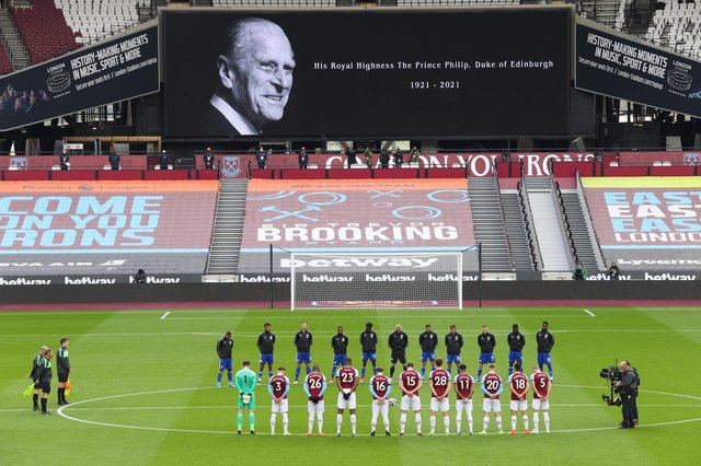 West Ham United and Leicester City players observe a two minute silence prior to kick off, following the death of the Duke of Edinburgh at the age of 99.