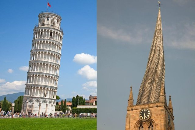 Do you recognise the UK landmark which has wonkiness in common with the Leaning Tower of Pisa? (Shutterstock/Getty Images)