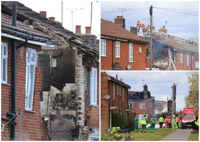 Emergency services work at the scene of a house fire in Mill View in Willesborough, near Ashford, Kent (PA)