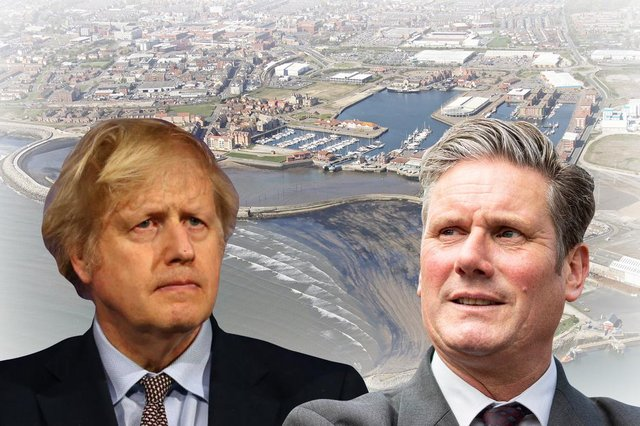 Boris Johnson and Keir Starmer both have their eyes on Hartlepool (Graphic: James Trembath)